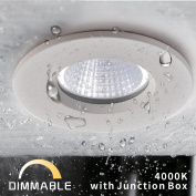 OBSESS 7.6cm IP65 Waterproof Recessed Trim with 8W LED COB Downlight, Damp Location Use, Bathroom Led Lighting, Shower Room Downlights Ceiling light, White, Aluminium, Dimmable, Neutral White 4000K