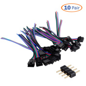 Conwork 10-Pair 4 Pin Male and Female JST SM Plug Connector Wire LED for SMD 5050/3528 RGB Led Strip with 10-Pack 4-pin Male Connector