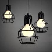 Industrial Cage Pendant Light-LITFAD Retro Black Vintage Hanging Pendant Lamp Ceiling Pendant Fixtures A