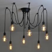 Industrial Vintage Edison Spider Light-LITFAD 8 Lights Multiple Ajustable DIY Ceiling Light Pendant light Chandelier