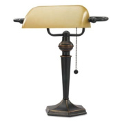 Alera LMP537BZ Traditional Banker's Lamp, 16High, Amber Shade with Antique Bronze Base