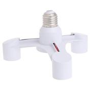 LIYUDL 3 In 1 E27 To 3E27 Base Socket Splitter LED Light Lamp Bulb Adapter Holder White