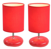 Simple Designs LT2005-RED-2PK Stonies Small Stone Look Lamp 2 Pack Set, Red