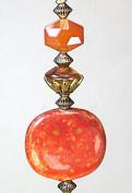 Burnt Orange Russet Red Mottled Poreclain & Peach Faceted Glass Ceiling Fan Pull Chain