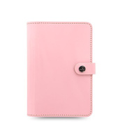 Filofax The Original Personal Size Leather Organiser Agenda Ring Binder Calendar with DiLoro Jot Pad Refill Patent Rose 022595
