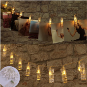 LED Photo Clips String Lights with 20 Clips, Battery Operated Fairy Twinkle Lights for Party Wedding Christmas Home Decor, Hanging Photos, Cards, Painting Pictures