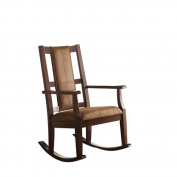 ACME Butsea Rocking Chair, Brown Fabric & Espresso
