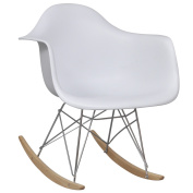 Anself White Rocking Chair with Metal Legs