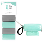 Oh Baby Bags Nappy Bag Clip-On Dispenser with Disposable Bags for Dirty Nappies - Bags Made of Recycled Plastic - Seafoam Duffle plus 108 Grey and Seafom Bags