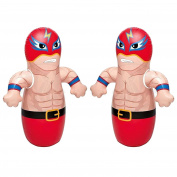 90cm 2 Pack 3-D Bop Bag Masked Wrestlers - MMA Fighter Wrestling Kick Boxing Tackle Buddy Punching Bop Bag Fun Kids Indoor Outdoor Toy