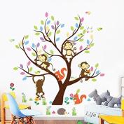 Kids Room Kindergarten Decorative Owl Tree Monkey 3d Stereo Wall Sticker Stickers Mural