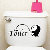 Little Penguin Toilet Seat Cover Sticker Showerroom Home Wall Decor Bathroom Vinyl Art by Ungfu Mall