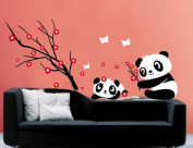 Lovely Panda & plum blossom Wall Sticker Decal for nursery Bedroom Removable Kids room wallpaper girls and boys birthday party decor Home Wall Art