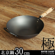 Made in Japan,RIVER LIGHT,Iron frying pan,Iron pot,30cm,KIWAME JAPAN,One-handed pan,Chinese wok