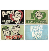 Set of Breakfast boards Popeye the Sailor Man - Set of 4 Popeye the Sailor Man chopping boards - original licenced product - LOGOSHIRT
