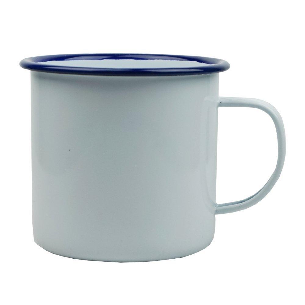 2 x Falcon Enamelware 284ml Traditional Enamel White Mug 8cm