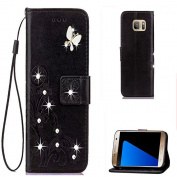 Galaxy Note 8 3D Handmade Beauty Rhinestone Case,Inspirationc Bling Fashion Butterfly Lucky Flowers PU Leather Credit Card ID Stand Holders Wallet Cover for Samsung Galaxy Note 8--Bling Black