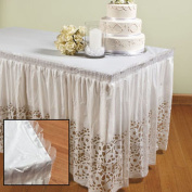 2 Lace-Printed Table Skirt Wedding Decor White Plastic Bridal Shower Decoration