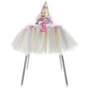 """HBBMagic Baby 1st Birthday Deluxe High Chair Tutu Tulle Skirt Decoration Party Supplies Centrepiece, 37"""", Multiple Colours"""