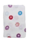 "Little Jump Ultra Soft Bamboo muslin swaddle blankets ""Donut Print"" Unisex muslin blankets idea shower gift for boys and girls."