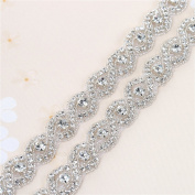 Bridal Wedding Dress Sash Belt Applique 1 yard with Crystals Rhinestones Beaded Dacorations Handcrafted Sparkle Elegant Thin Sewn or Hot Fix for Women Gown Evening Prom Clothes - Silver