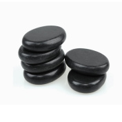 Romonacr 6Pcs Professional Massage Hot Stone Set Natural Lava Heated Stones Basalt Warmer Rock for Spa, Massage Therapy