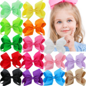 15Pcs 11cm Hair Bows For Girls Grosgrain Boutique Bows Alligator Clips For Teens Babies Toddlers Children Kids Teens Headbands