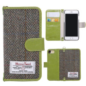 iPhone 7 Flip Case , iPhone 8 Cover MONOJOY Purse Card Cover Harris Tweed Wool Surface Fabric and Synthetic Suede Leather Folio Book Cover with Card Business Office Commercial Slot Magnetic Clasp Handmade Retro
