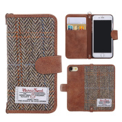 iPhone 7 Case Cover, iPhone 8 Flip Leather Wallet Case Genuine [ Harris Tweed ] Folio Book Cover with 2 Card Holder and 1 Cash Slots, MONOJOY Premium iPhone 8 Screen Protector Case with [Kickstand Function] [Magnetic Closure] [Keyring], Stylish, Retro, ..