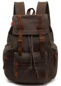 EcoCity Vintage Canvas Backpack Rucksack Schoolbag