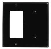 Leviton 80708-E 2-Gang 1-Blank 1-Decora/GFCI Device Combination Wallplate, Standard Size, Black