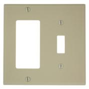 Leviton 80707-I 2-Gang 1-Toggle 1-Decora/GFCI Device Combination Wallplate, Ivory