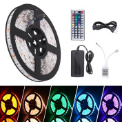 Boomile LED Light Strip 5m Waterproof SMD 5050 300 LEDs, 12V DC Flexible Light Strips, Colour Changing RGB LED Strip Kit with Power Plug 44Keys Remote Control for Christmas Party Home Decoration
