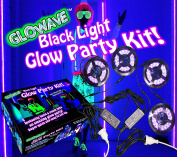 Glowave Complete Glow Party Black Light Kit. Contains 1.2m x 2m long UV Ultraviolet Black Lights LED (7.9m total). With 2 power adapters and splitter cables. For neon glow parties