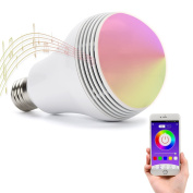 Huamai Bluetooth Speaker Bulb, 2nd Generation LED Light Bulb with Bluetooth Speaker, 8W E26 Dimmable RGB+White Colour Smart Music LED Bulb Light