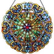 River of Goods 12790 Tiffany Style Stained Glass High Heart Webbed Window Panel, 60cm , Multicolor