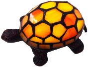 River of Goods 12871S 6.4cm H LED Battery Operated Stained Glass Yellow Turtle Accent Lamp