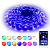 RaThun Bluetooth Led Strip Lights 10m 5050 RGB 300 Leds Flexible Colour Changing Full Kit with Bluetooth Smartphone App Controller,12V 5A Power Supply for Home lighting Decorative