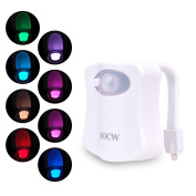 SOCW Body Auto Motion Activated Toilet Night Light 8 Colour Changing LED Toilet Seat Light Motion Sensor Toilet Bowl Light with 3pcs Batteries, Fits Any Toilet