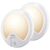 Stairs Night Lights Indoor, AVANTEK ELF-L4 LED Wall Light Motion Sensor for Hallway and Kitchen, Battery Operated [Pack of 2]