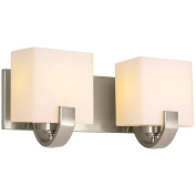 Revel Caroline 41cm 2-Light Contemporary Vanity/Bathroom Light, Brushed Nickel Finish