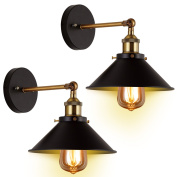 2-Pack Wall Sconces Light JACKYLED Wall Industrial Vintage Edison Simplicity Lamp Fixture Steel Finished for Cafe Club 2 Light