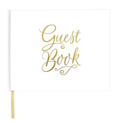 bloom daily planners Wedding Guest Book (120 pages) Guest Sign-In Book Guest Registry Guestbook - White Cover with Gold Foil and Page Marker Hardbound 18cm x 23cm