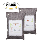 AUDEW Air Purifying Bag, Natural Activated Bamboo Charcoal, Odour Eliminator Neutralizer for Cars, Home, Closets, Bathroom and Pet Areas , 200g x 2 pcs