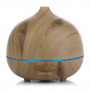 BESTEK 300ml Wood Grain Essential Oil Diffuser,Aromatherapy Ultrasonic Cool Mist Aroma Humidifier with 7 changing LED light,Waterless Auto Shut-off,Safety for kids