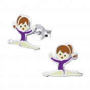 Sterling Silver Gymnastics Girl with Purple Leotard Earrings