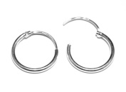 Arranview Jewellery Child's 12 mm Diameter Hinged Medium Weight Sleeper Hoop Earrings in Sterling Silver