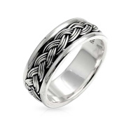Bling Jewellery Men Sterling Silver Braided Band Ring