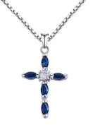 100% Genuine Sapphire CZ 925 Sterling Silver White Gold Plating Christian Cross Necklace For Women