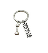 Strong Is Beautiful! dumbbell charm Fitness Instructor Gifts, Gym Bag Accessories, Weight Loss Key Chains